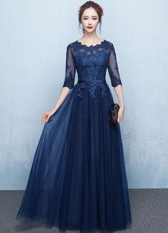 Tulle Evening Dress Dark Navy Lace Applique Prom Dress Illusion Half Sleeve Sash A Line Maxi Graduation Dress