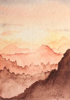 Perspectiva atmosférica en acuarela, papel hecho a mano de 600gr - Montañas lejanas. Atmospheric perspective in watercolor, handmade paper of 600gr - Far mountains. HMZEN'14