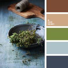 color azul grisáceo, color azul oscuro polvoriento, color azul tejano, color oliva, color verde hierba, marrón cálido, matices del garzo, paletas para un diseñador, tonos claros, tonos marrones, tonos pastel de color azul oscuro, verde y azul oscuro, verde y marrón.