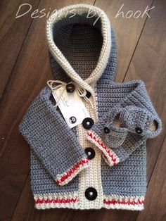 Crochet worksock sweater and booties set by Designsbyhook on Etsy