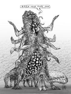 Enlightened Garfield, The Omniscient : imsorryjon Monster Concept Art, Monster Art, Lovecraftian Horror, Eldritch Horror, Creepy Drawings, Horror Artwork, Hp Lovecraft, Arte Obscura, Creature Concept Art