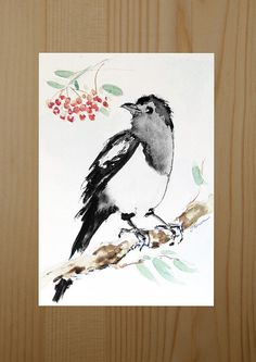 Watercolour paintings – Small magpie watercolor painting ORIGINAL – a unique product by Radikacolours on DaWanda