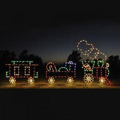 buy american made led holiday displays like this holiday dreams animated led train set at christmas night inc