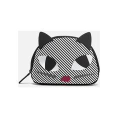 Lulu Guinness Women's Stripe Kooky Cat Crescent Pouch - Black White (968.440 IDR) ❤ liked on Polyvore featuring bags, handbags, clutches, lulu guinness purse, striped handbags, black white handbag, black white purse and stripe purse