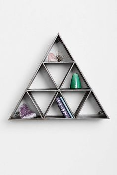 Geo Triangle Shelf in charcoal metal, compartmentalized for your curios.
