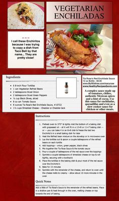Perfect Enchilada Recipe ~ Everybody says the Vegetarian version tastes the best! www.HealthyRecipesQuick.com