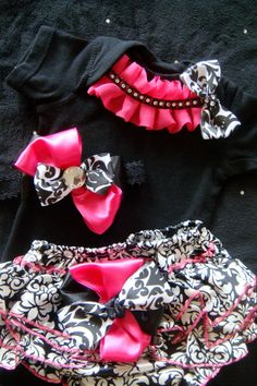 NEWBORN baby girl take home outfit complete onesie romper hot pink  damask satin bloomers hot pink black and white ruffles rhinestones on Etsy, $37.50