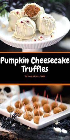 Easy Desserts, Delicious Desserts, Dessert Recipes, Yummy Food, Baked Pumpkin, Pumpkin Recipes, Sugar Free Truffle Recipe, Pumpkin Truffles, No Bake Pumpkin Cheesecake