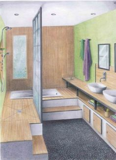 A Zen bathroom of elevated shower Bathroom Layout, Home Staging, Bathroom Design, House Bathroom, Laundry In Bathroom, Modern Bathroom, Zen Bathroom, House, New Homes