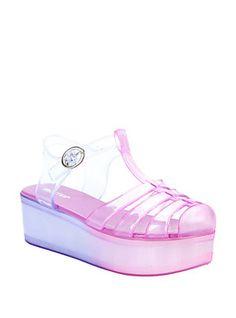 Pink & Purple T-Strap Jelly Flatform Sandals, PINK