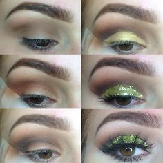 Yellow green glitter cut crease #makeup #tutorial #maquiagem #evatornadoblog #lemon #lime Желто-зеленый макияж с блестками - урок