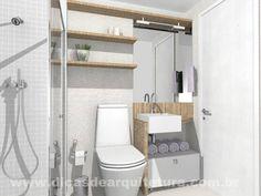 Banheiro estreito, clean e aconchegante. http://dicasdearquitetura.com.br/antes-e-depois-banheiro-estreito/