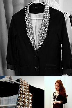 WANT THIS! ::: OutsaPop Trashion ::: DIY fashion by Outi Pyy :::: Maison des Rêveries DIY Balmain inspired stud blazer