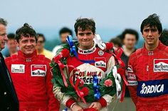 The podium (L to R): Stefano Modena (ITA) Onyx, second; Luis Perez Sala (ESP) Lola, winner; Pierre-Henri Raphanel (FRA) Onyx, third - Donington - 1987 Intercontinental Formula 3000, round 5 - © Sutton Motorsport Images