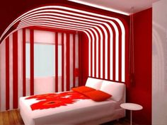Although there is definite study for the approach of this space in my opinion the finishes do not quite work. The darker curved and vertical red lines bring dynamism but the lines of the wood floor are not in harmony with the movement created. The all white bed with its floral pattern generates a distracting visual mass and the too red-orange of the flowers fail to integrate the red of the walls.