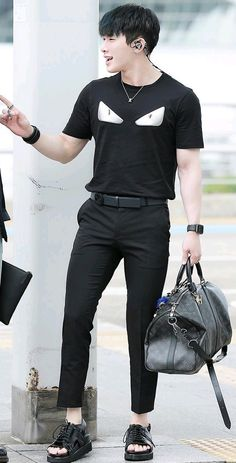 Wonho • MONSTA X - Twelve kinds of holy fuck..   those pants make me want to cry..   the sheer beauty and the fact that I can't have any of it..  oh, the humanity...