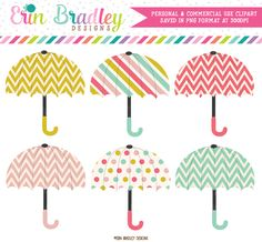 Cheerful Umbrellas Clipart – Erin Bradley/Ink Obsession Designs