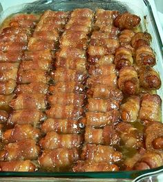 the news style of food: Bacon-Wrapped Smokies with Brown Sugar and Butter