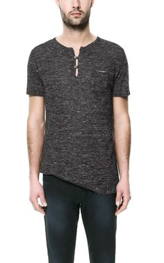 3a4b8a4893 Image 2 of BUTTON NECK T-SHIRT from Zara Zara Portugal