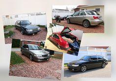 My current Saab collection. (6 total)  Edwardian Grey 1988 Saab 900 SPG, Red 1994 900se, Black 1998 900se, Steel Gray 2001 5 door Viggen, Black 2001 2 door Viggen, Artic Silver 2005 92x Aero. I may have a problem...