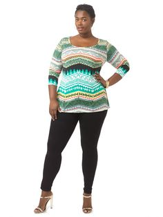 Aztec Print Round Neck Top by  Isabel + Alice  Available in sizes L-XL and 1X-5X
