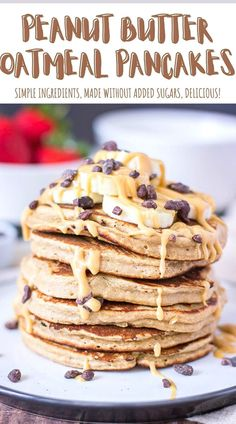 Peanut Butter Oatmeal Pancakes are perfect quick breakfast that your family will love. These oatmeal pancakes are made with WHOLESOME ingredients and WITHOUT ADDED SUGARS, packed with nutrients and incredible flavor. So delicious and super easy to make! ------- #peanutbutterpancakes #pancakes #pancakeslover #recipes #breakfast #breakfasttime #healthybreakfast #healthyeats #pancakestack #healthypancakes #pancakesforbreakfast Delicious Breakfast Recipes, Savory Breakfast, Sweet Breakfast, Breakfast Time, Breakfast Ideas, Waffle Recipes, Brunch Recipes, Sweet Recipes, Pancake Recipes