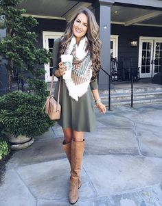 I love this a-line olive green dress!