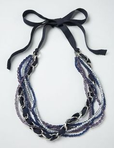 twill or other ribbon (approx large link chain (you'll need a piece about long) bead assortment – enough for 5 strands beading cord crimp beads (Diy Necklace) Ribbon Necklace, Cute Necklace, Beaded Necklace, Chanel Necklace, Collar Necklace, Beaded Jewelry, Jewelry Necklaces, Handmade Jewelry, Bikinis Crochet