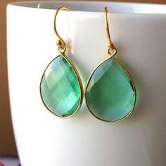 big deep aqua quartz drop earrings with vermeil by KKSparkles