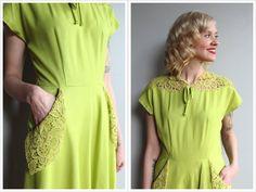 1940s Dress // Chartreuse Cotton & Lace Dress // vintage 40s