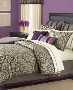 Martha Stewart Collection Bedding, Brownstone Damask - The future guest bedroom.  I need to use up some of my purple flowers from my wedding.