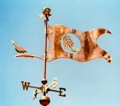 Redwood Banner Weather Vane by West Coast Weather Vanes.  This handcrafted banner weathervane can e customized using a symbol, logo, slogan or other message.