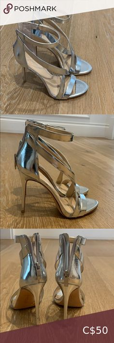 Imagine by Vince Camuto sandal Strappy silver high heel sandal with back zip closure. Brand new never been worn Leather upper and sole Vince Camuto Shoes Heels Silver High Heel Sandals, Blue Suede Pumps, Strappy Sandals, Polka Dot Heels, Leopard Heels, Black Heels, Pump Shoes, Shoes Heels, Gladiator Heels