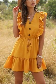 Style: Street Neckline: V-Neck Length: Long Sleeve Length: Sleeveless Pattern Style: Solid color Material: Polyester Season: Summer Net Weight: KG Shipping Weight: KG Ruffle Dress, Boho Dress, Dress Beach, Ruffle Trim, Ruffle Sleeve, Cute Dresses, Casual Dresses, Cheap Dresses, Travel Dress