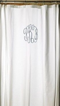 Monogrammed Shower Curtain - traditional - shower curtains - Rosenberry Rooms