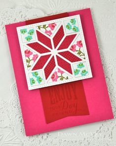 hand crafted quilt card ... die cut quilt block ... luv the variety of small prints papers in the same color ...  great card!