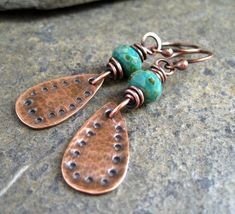 hammered copper and turquoise earrings by shawna
