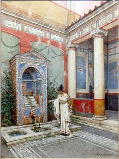 Luigi Bazzani, Italian Roman Atrium Watercolor on Paper, Signed, Measures 14 Inches by 11 Inches. Ancient Pompeii, Pompeii And Herculaneum, Roman Architecture, Ancient Architecture, Ancient Roman Houses, Roman City, Art Antique, Roman History, Art Sculpture