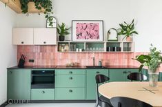 Buy Marais Rose tiles from Porcelain Superstore. Visit our website for great deals on porcelain tiles all with 5 year guarantee. Green Kitchen, Kitchen Colors, New Kitchen, Pink Kitchen Walls, Colourful Kitchen Tiles, Teal Kitchen Cabinets, Modern Retro Kitchen, Funky Kitchen, Kitchen Colour Schemes