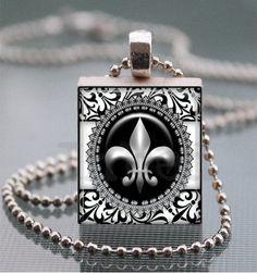 Scrabble Tile Necklace - Fleur de Lis - Classic Black Damask Collection