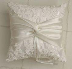 Ring bearer pillow Ivory Lace Ring Pillow by antiquebridal on Etsy Wedding Ring Cushion, Wedding Pillows, Cushion Ring, Ring Bearer Pillows, Ring Pillows, Pillow Crafts, Lace Ring, Flower Girl Basket, Wedding Crafts