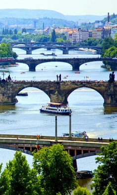 View over the Vltava River, Prague. Czech Republic.