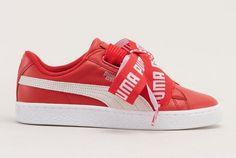 Puma Sneakers rouge en cuir à lacets larges pas cher prix Baskets Femme Monshowroom 100.00 €
