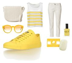 """""""White / Yellow Monochrome Set, Vegan & Fairtrade"""" by ethletic-official on Polyvore featuring Mode, STELLA McCARTNEY, Lauren B. Beauty, Deux Lux, monochrome, yellow, trainer und Ethletic"""