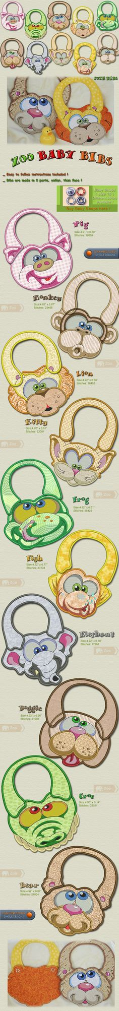 Zoo Baby Bibs Embroidery Designs Free Embroidery Design Patterns Applique                                                                                                                                                                                 More