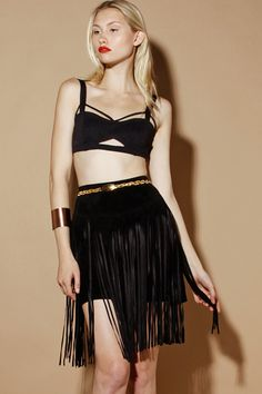 Vintage 80s Black Leather Fringe Skirt http://thriftedandmodern.com/vintage-80s-black-leather-fringe-skirt