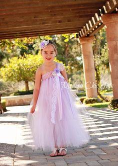 Lavender Lace & Pearls Tutu Dress.  Flower Girls