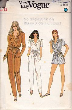 80s Jumpsuit & Rompers Pattern Vogue 8216 Vintage Sewing Pattern Size 12 Bust 34 inches