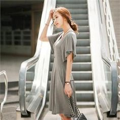 Buy 'Styleberry – V-Neck Flutter-Sleeve Godet Dress' with Free International Shipping at YesStyle.com. Browse and shop for thousands of Asian fashion items from South Korea and more!