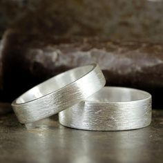 Wedding Ring Set Flat Pipe Cut 925 Solid Sterling Silver Wire Brushed Rings Matching His & Hers Thic